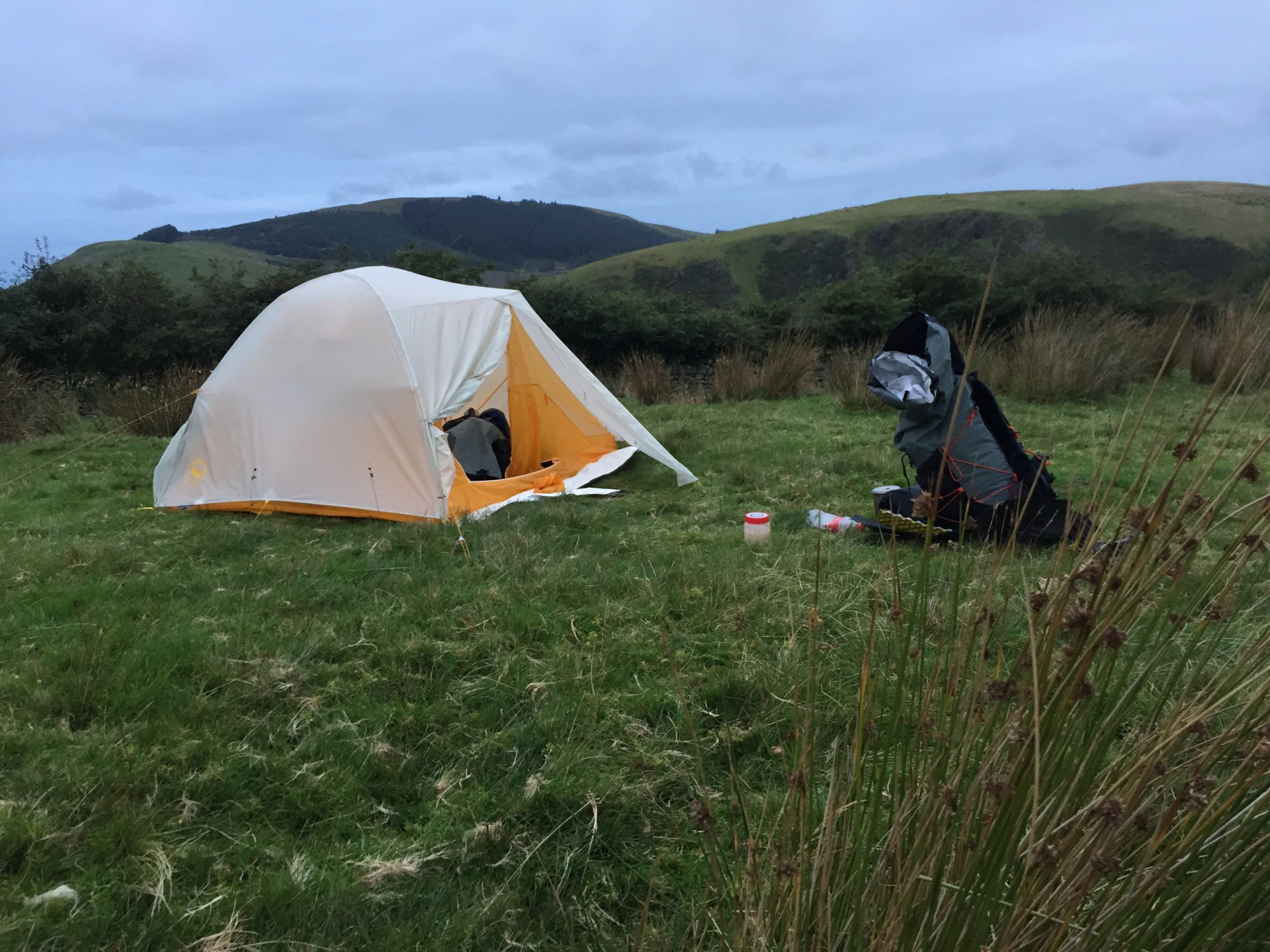 A small tent on a wild camp in Lake District guided wild camping trips.