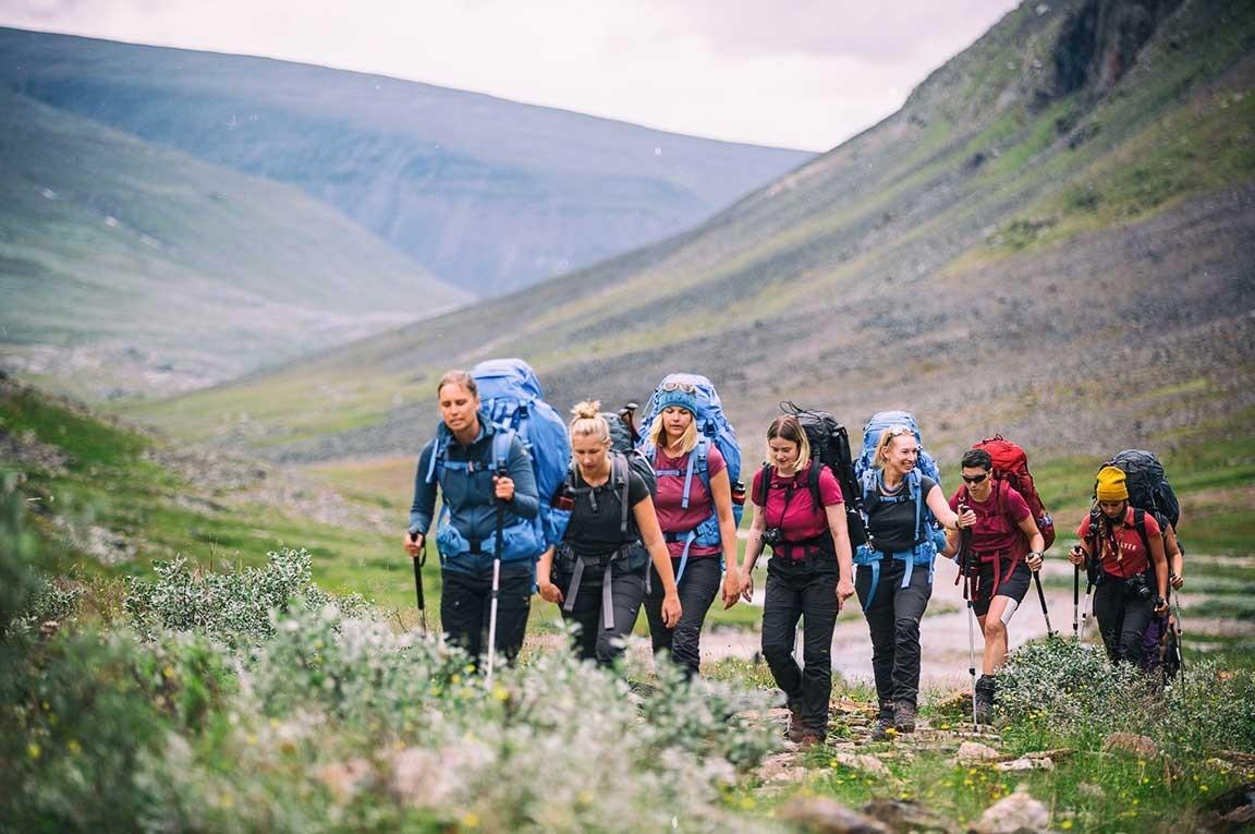 Group of trekkers on the Kungsleden Trail in Sweden