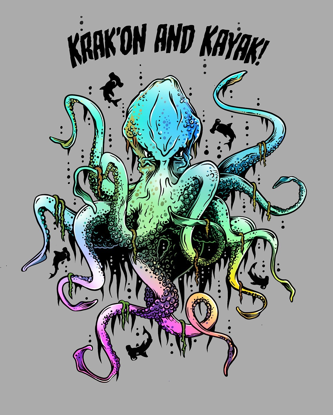 Image of Kevin the Krak'on used on merchandise shirts