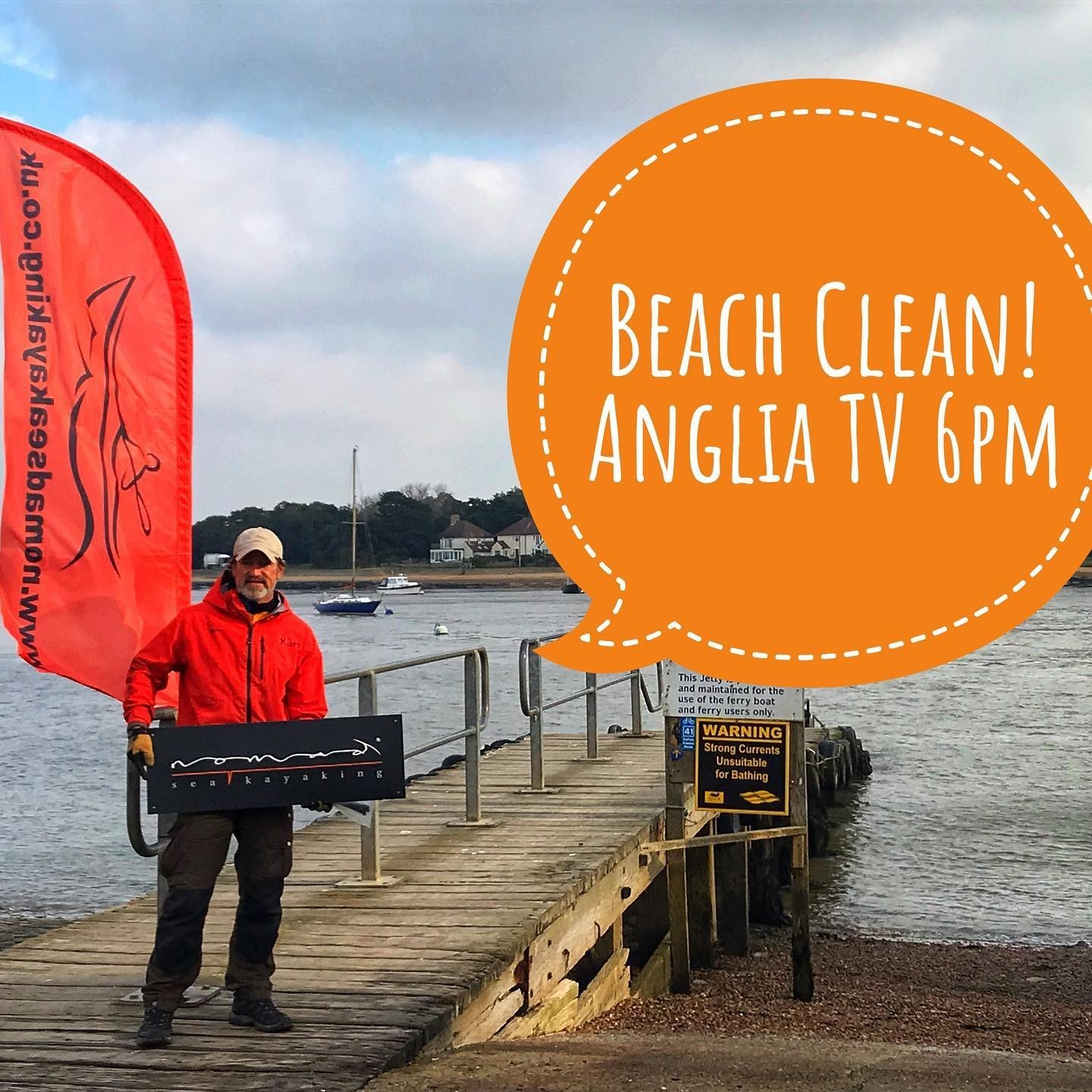 Beach clean in Felixstowe Ferry on Anglia TV