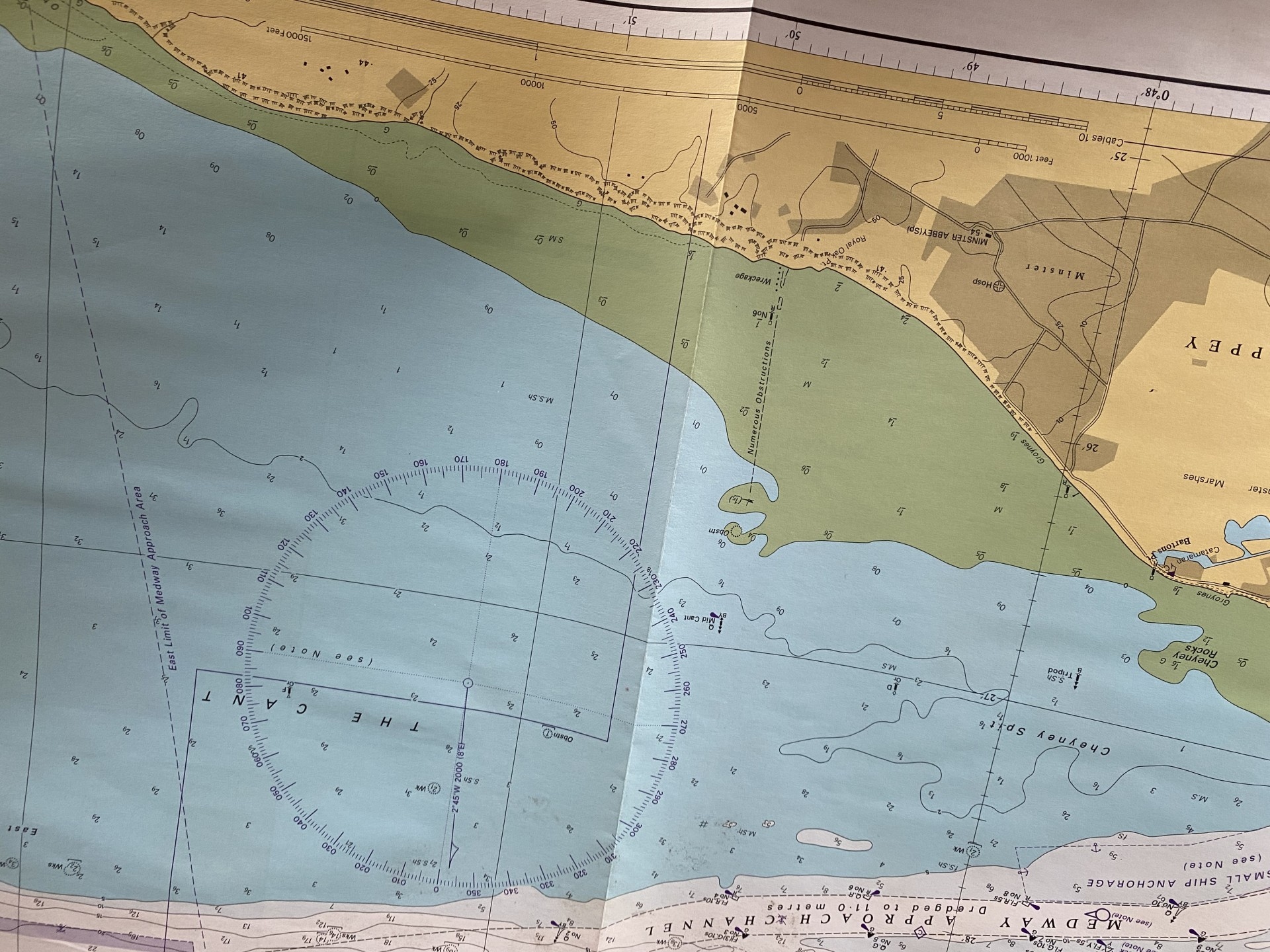 A view of an Admiralty chart showing deep water in blue